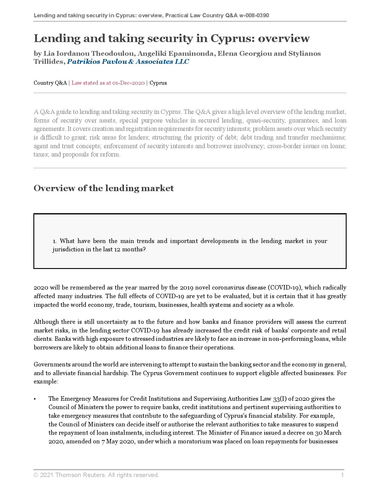 Patrikios Pavlou & Associates LLC: Lending and taking security in Cyprus: overview