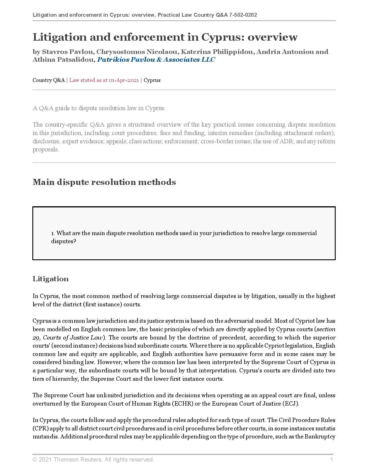 Patrikios Pavlou & Associates LLC: Litigation and enforcement in Cyprus: overview