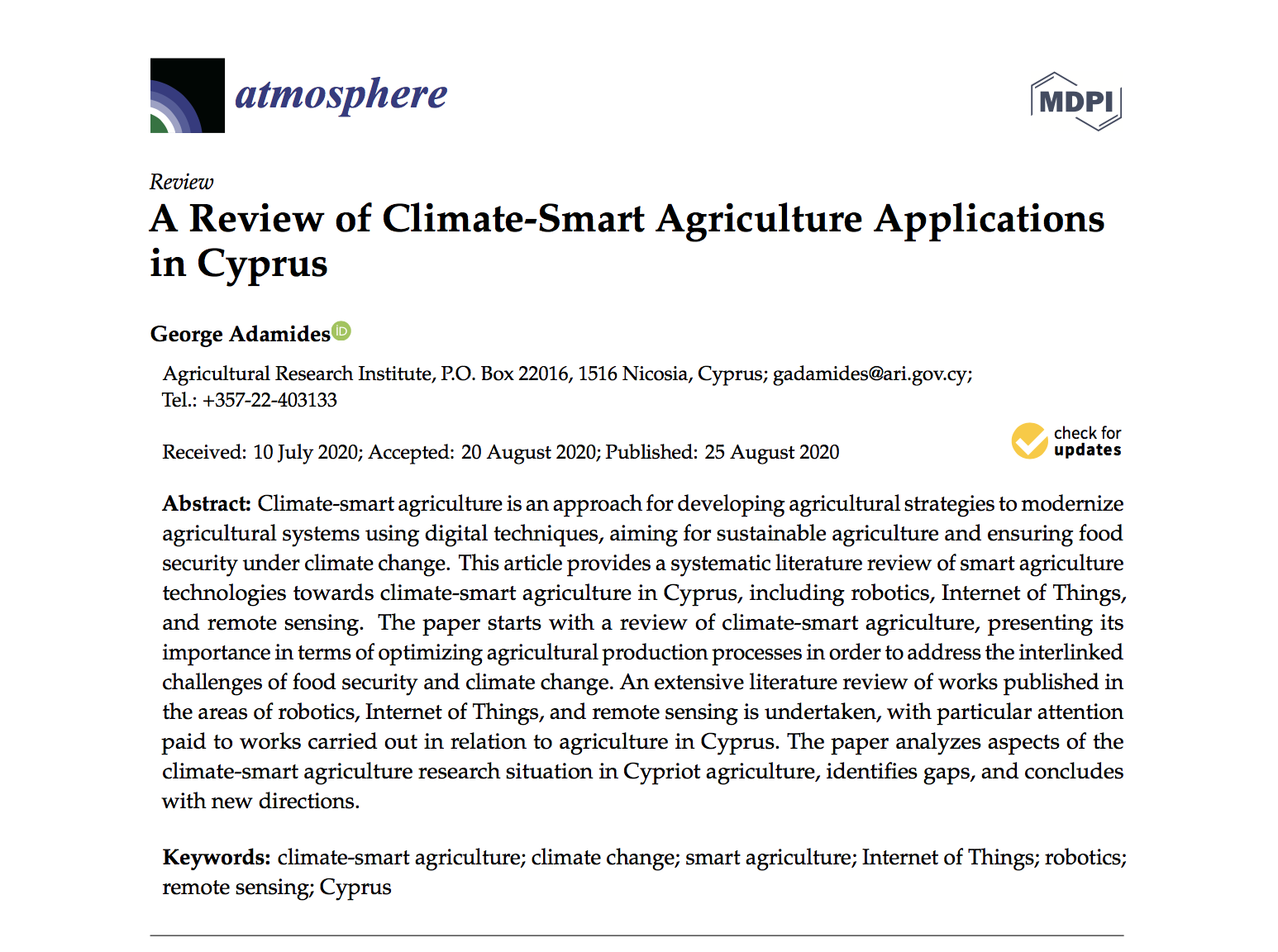 A Review of Climate-Smart Agriculture Applications in Cyprus