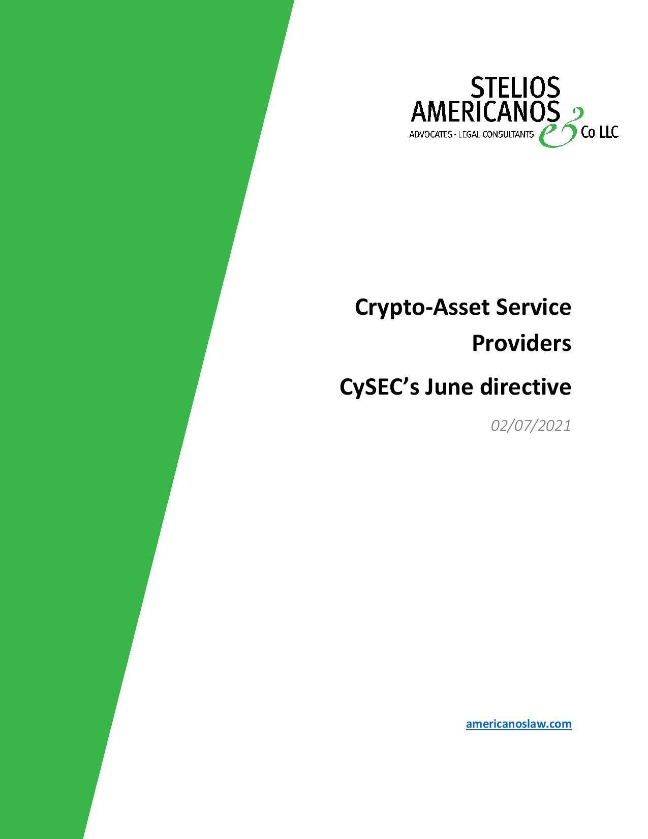 Stelios Americanos & Co LLC: Crypto-Asset Service Providers CySEC's June directive