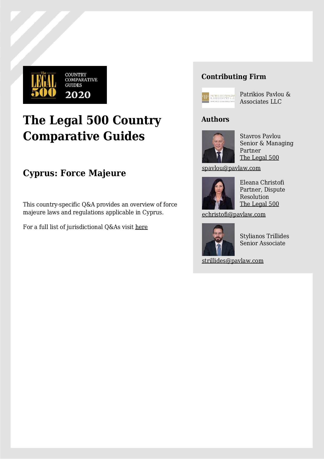 Patrikios Pavlou & Associates LLC: The Legal 500 Country Comparative Guides