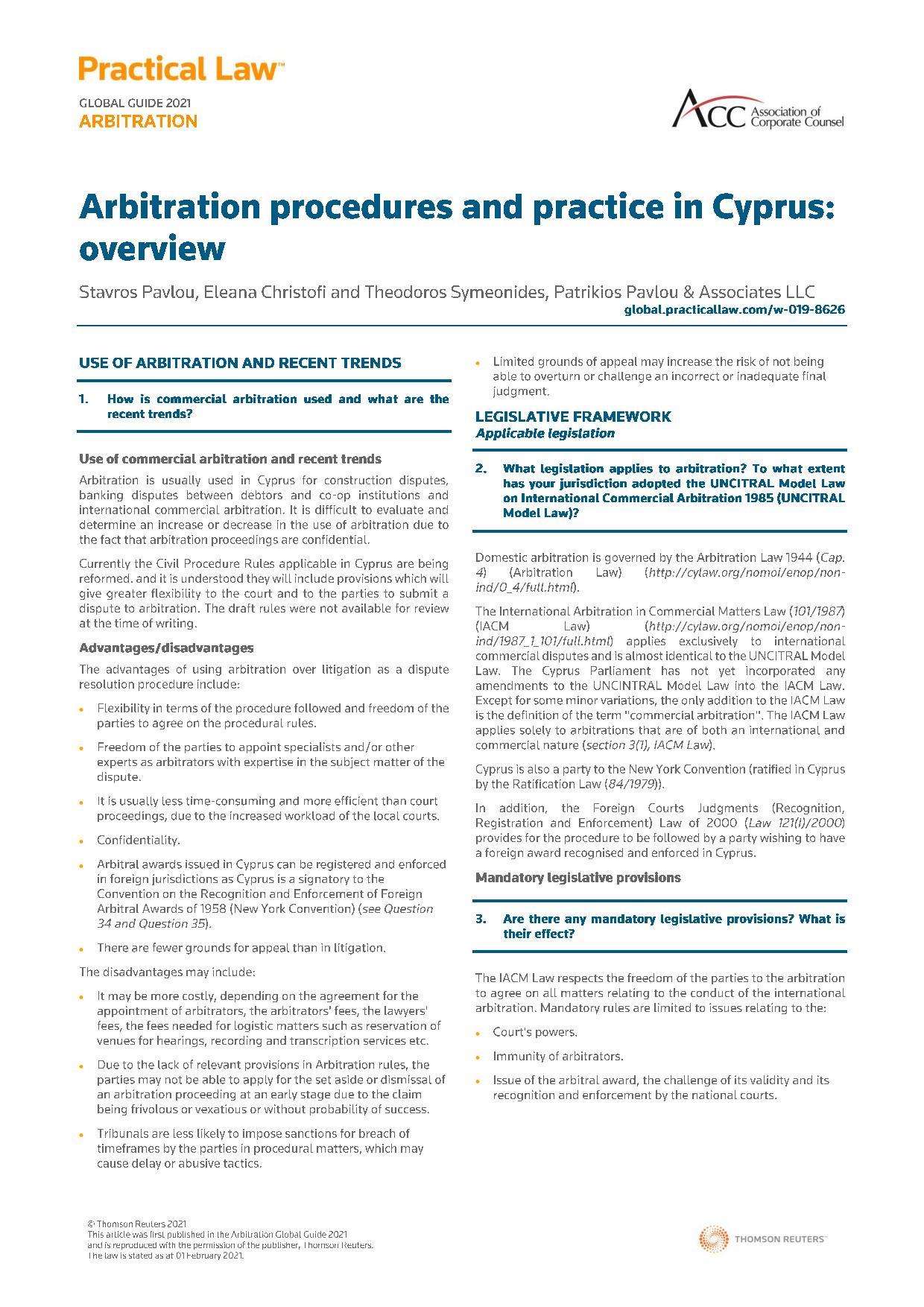 Patrikios Pavlou & Associates LLC: Arbitration procedures and practice in Cyprus: overview