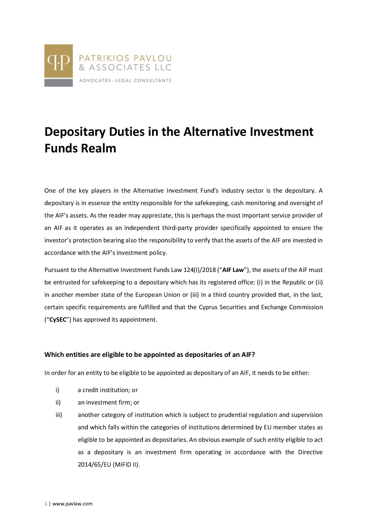 Patrikios Pavlou & Associates LLC: Depositary Duties in the Alternative Investment Funds Realm