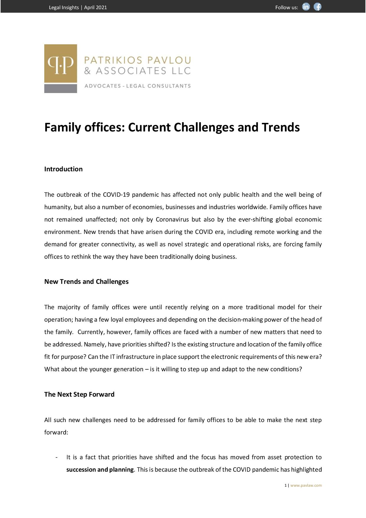 Patrikios Pavlou & Associates LLC: Family Offices: Current Challenges and Trends