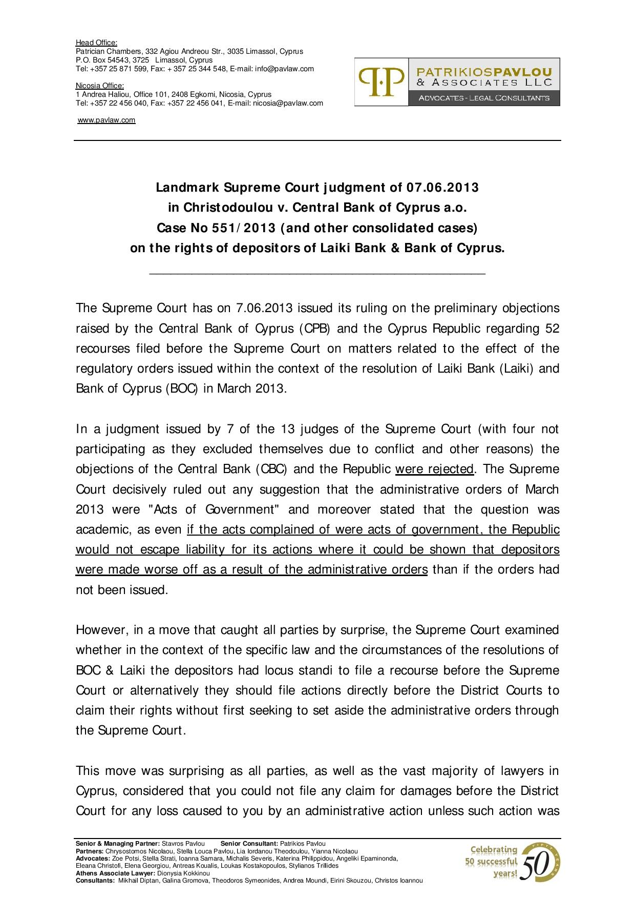 The Landmark Supreme Court Judgment on the rights of depositors