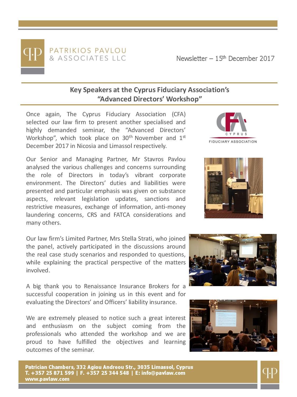 Patrikios Pavlou & Associates LLC November 2017 Newsletter