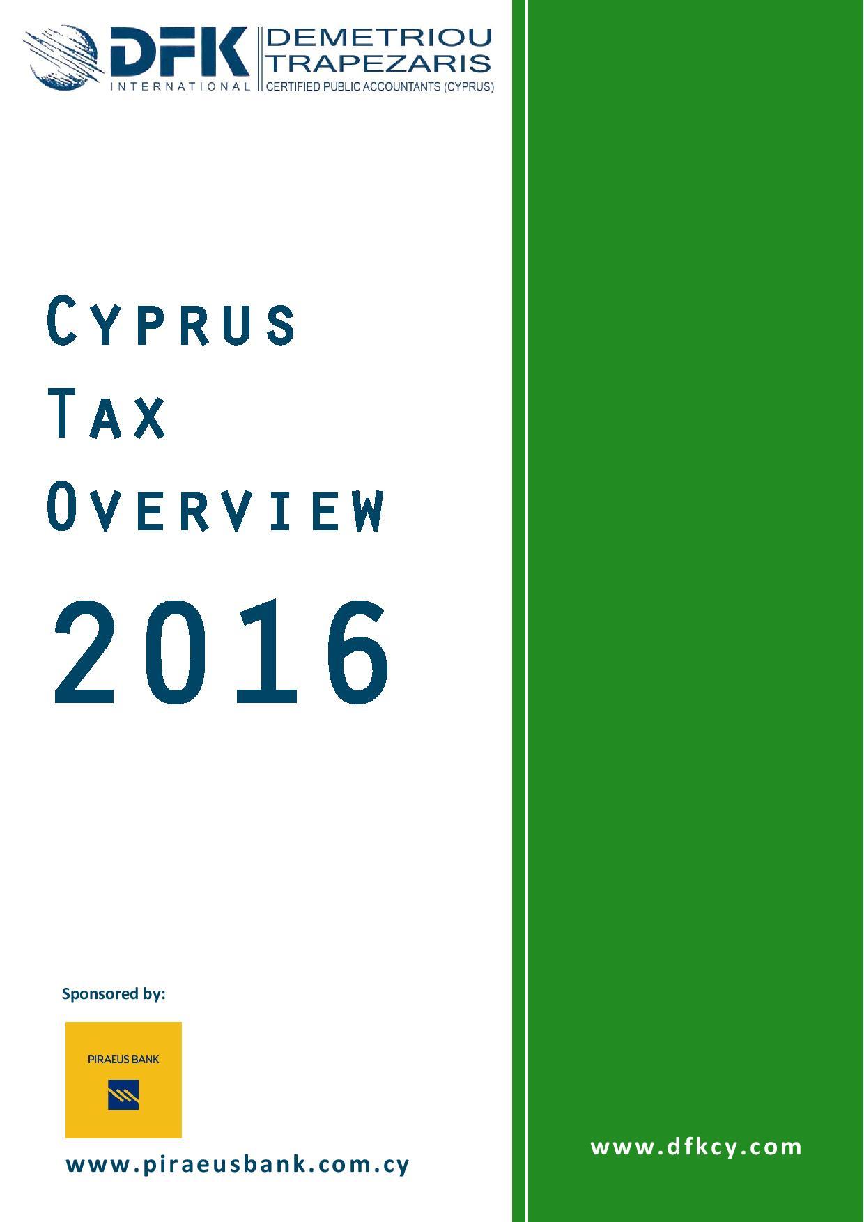 DFK Demetriou Trapezaris Ltd: Cyprus Tax Overview 2016