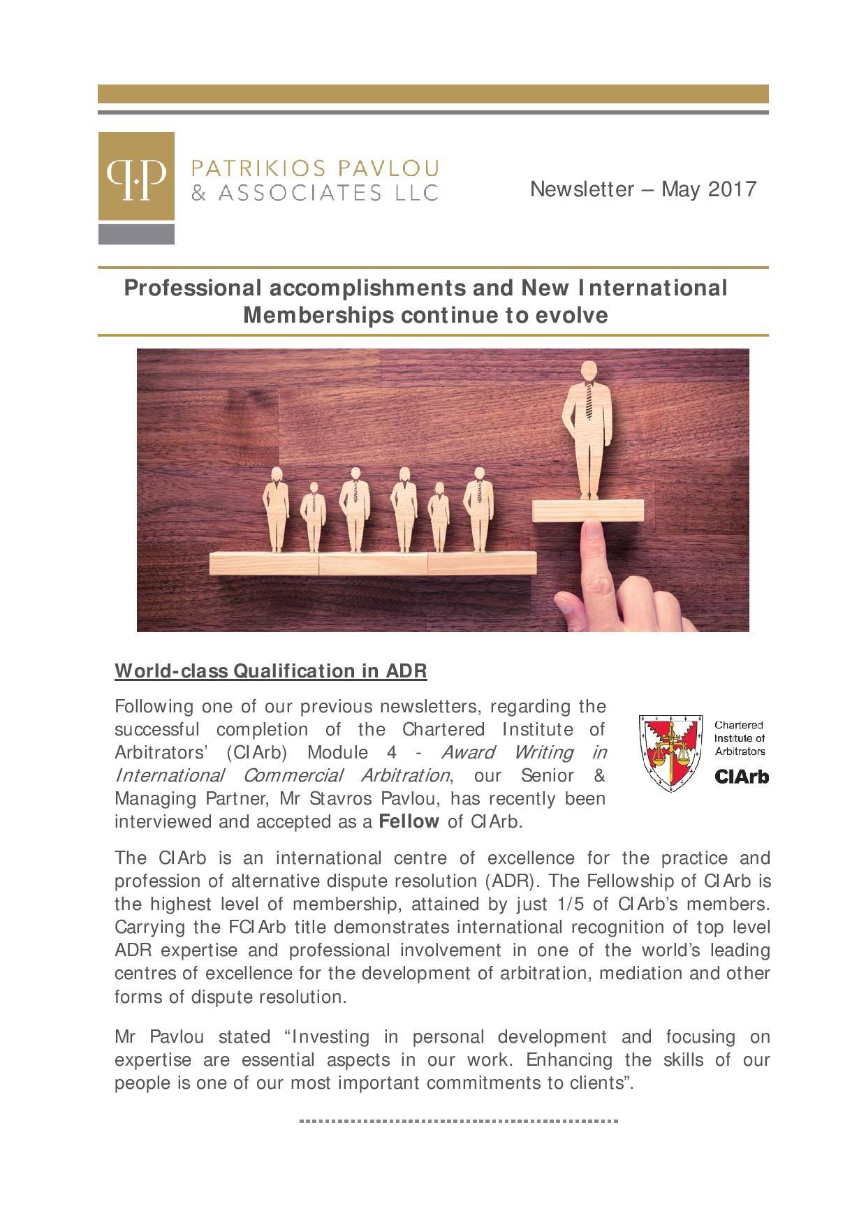 Patrikios Pavlou & Associates LLC:  May 2017 Newsletter