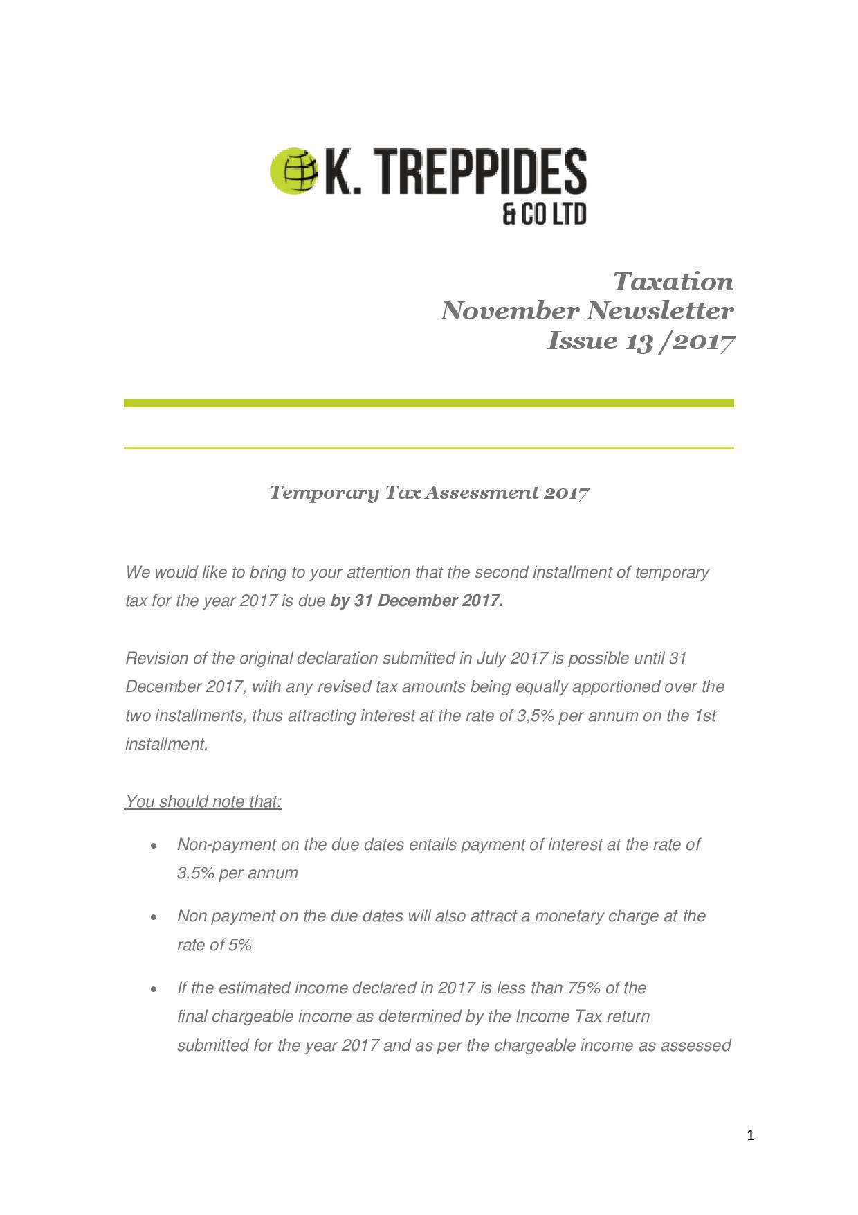 Taxation November Newsletter Issue 13 /2017