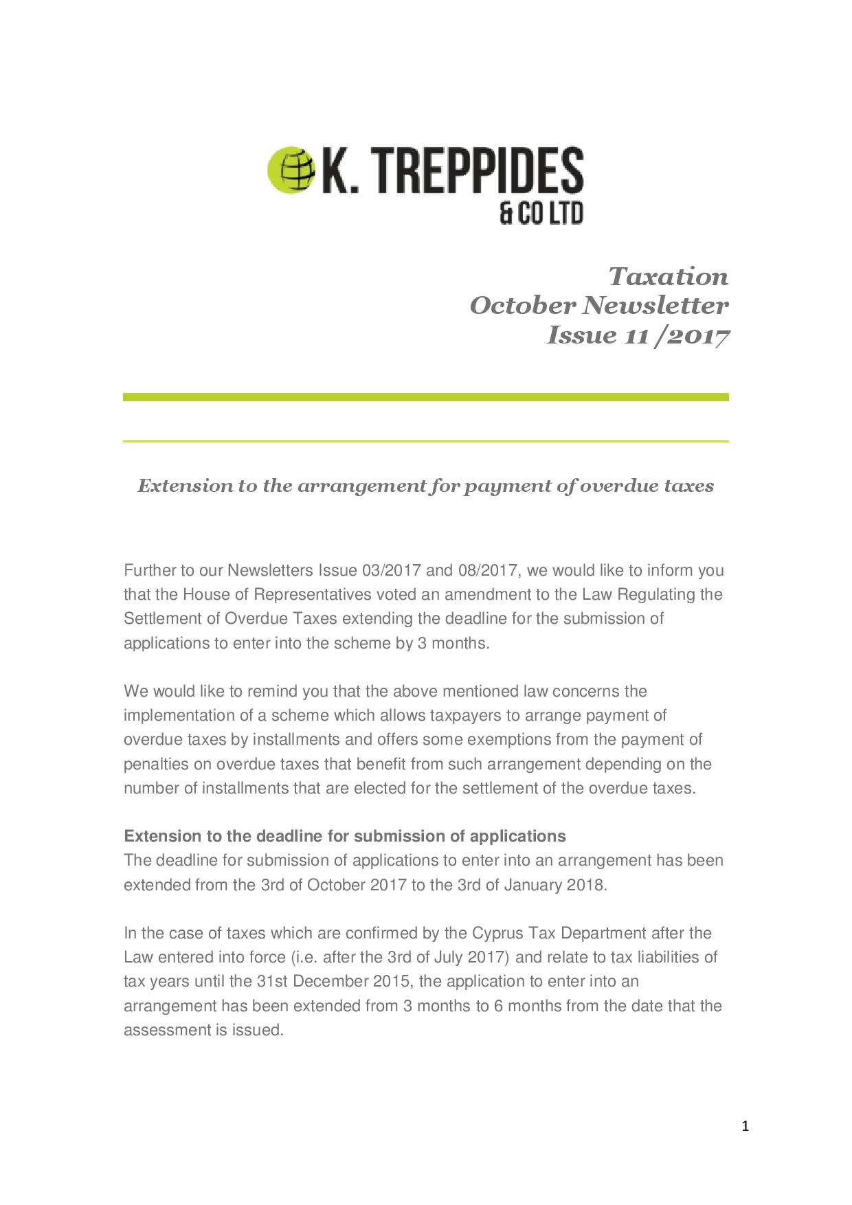 Taxation October Newsletter Issue 11 /2017