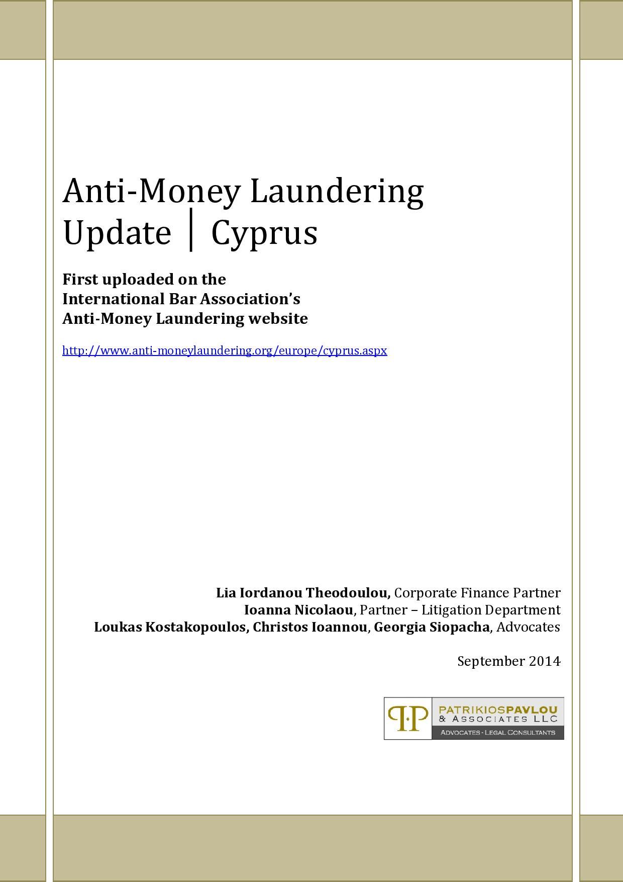 Anti-Money Laundering Update - Cyprus, September 2014