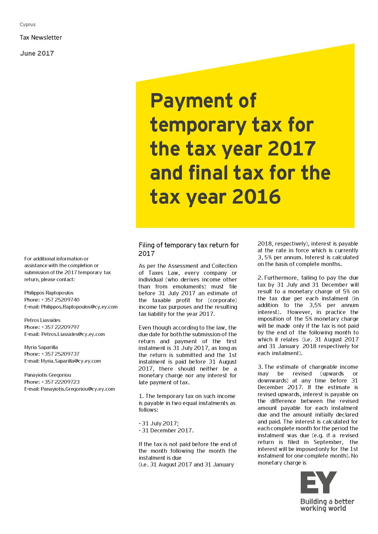 EY Tax Newsletter June 2017