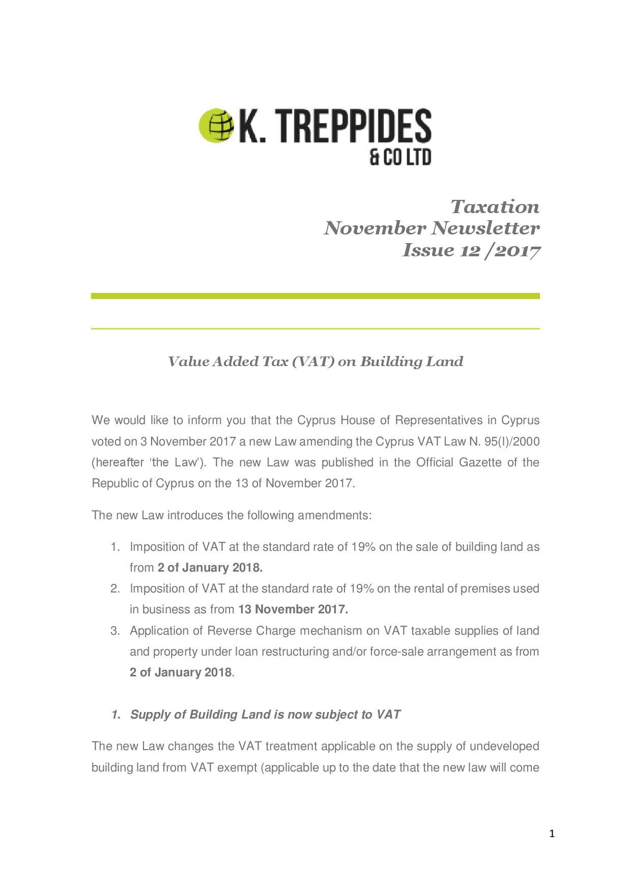 Taxation November Newsletter Issue 12 /2017
