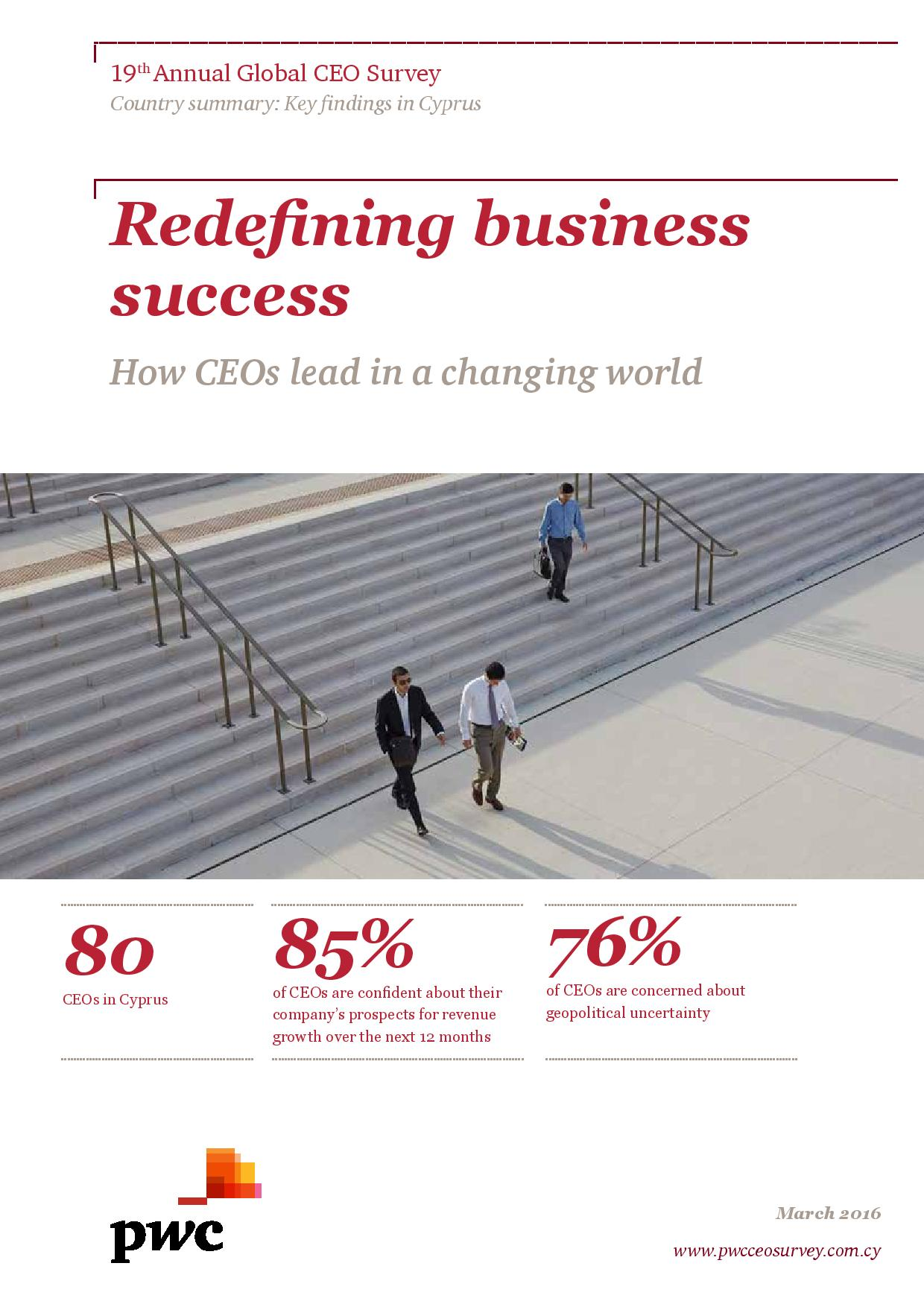 19th Annual Global CEO Survey - Key findings in Cyprus