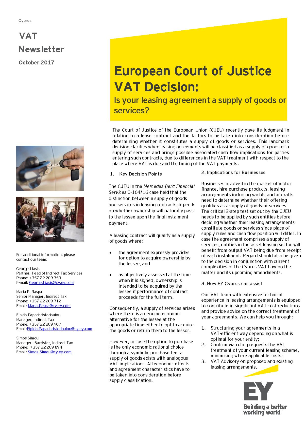 EY Tax Newsletter October 2017