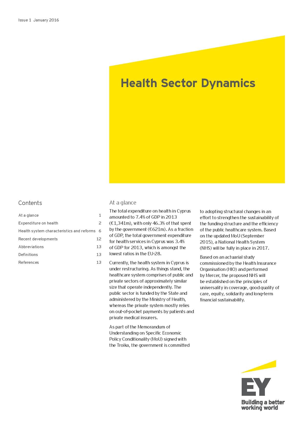EY: Health Sector Dynamics Issue #1 January 2016