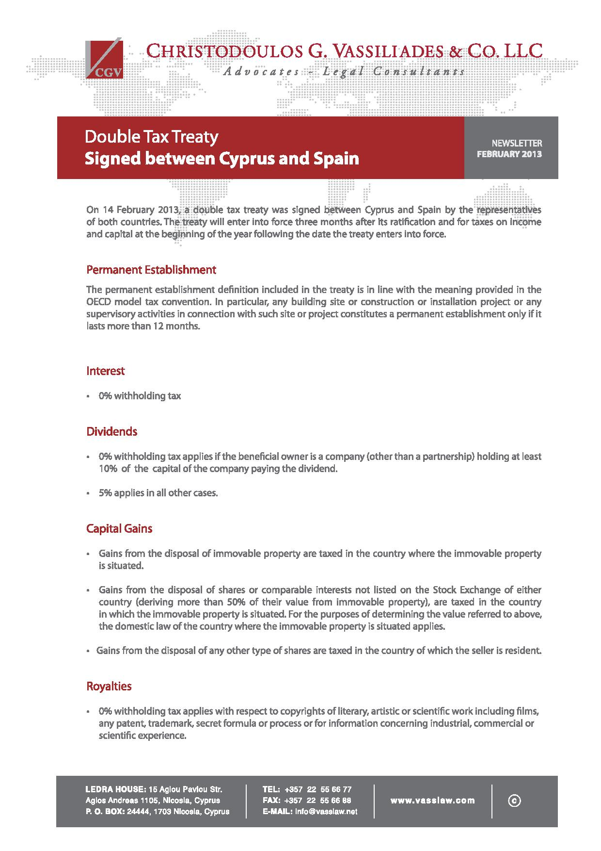 Signing of Cyprus-Spain Double Tax Treaty