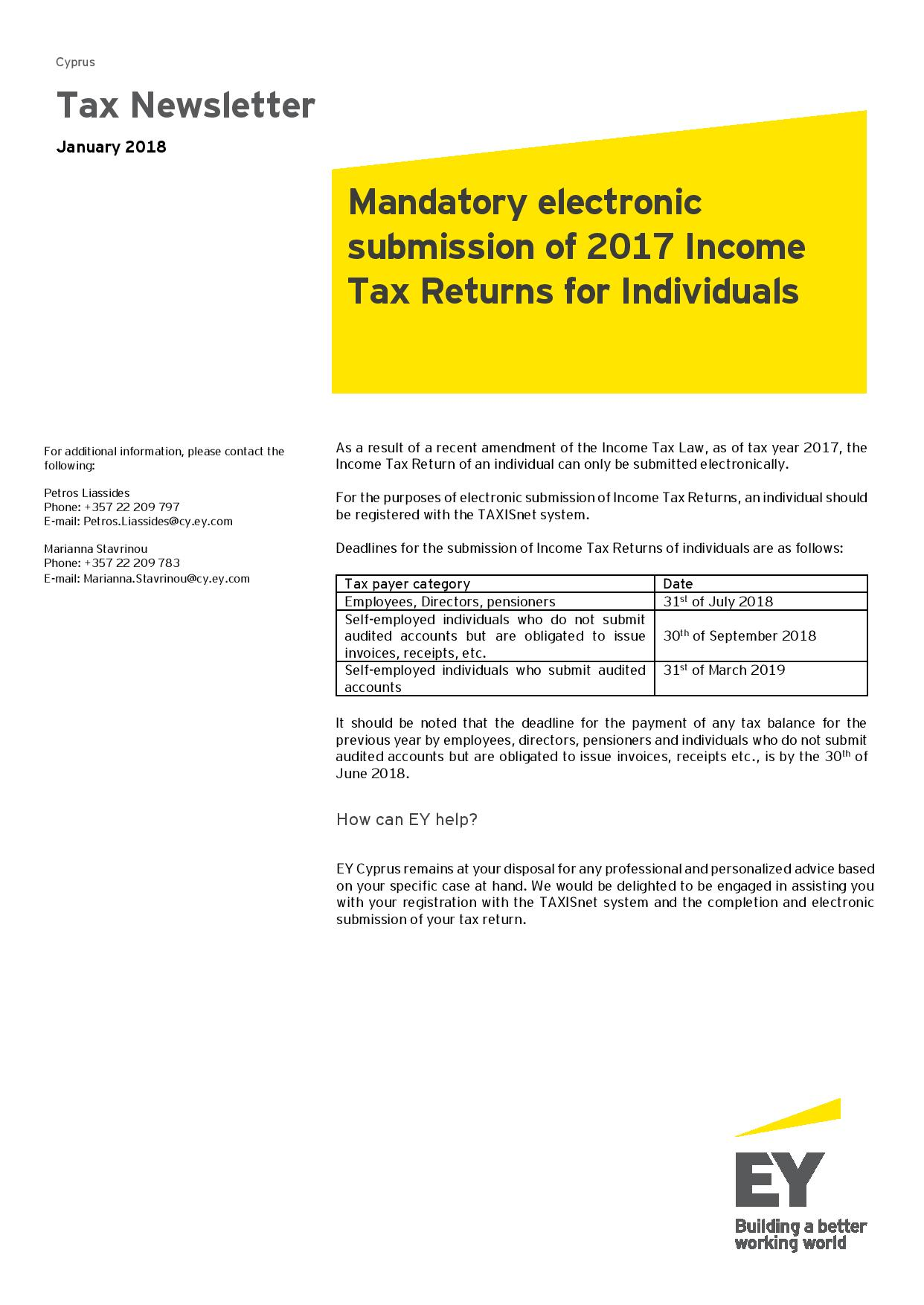 EY Tax Newsletter January 2018