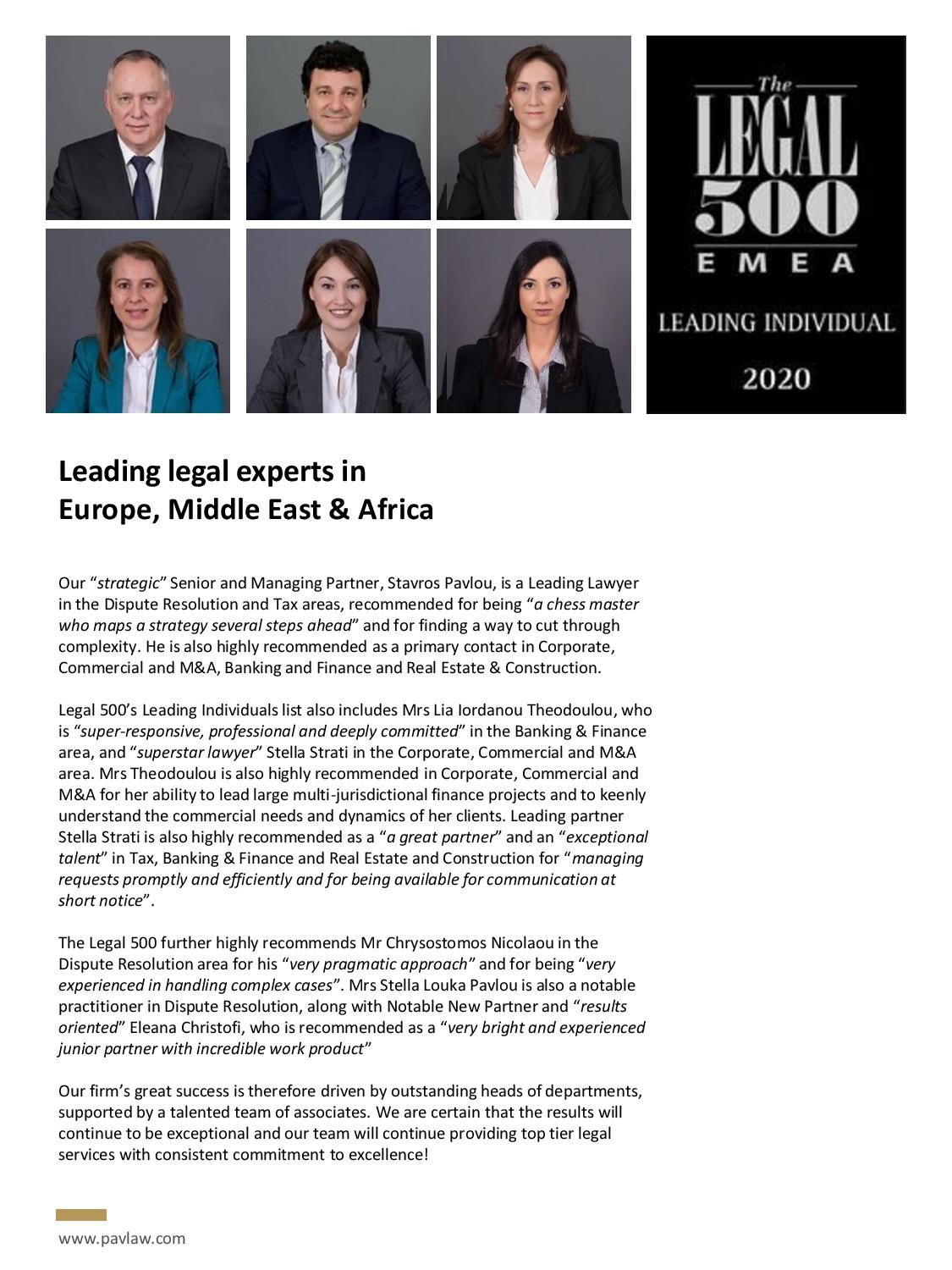 Patrikios Pavlou & Associates LLC: The Legal 500 - Leading legal experts in Europe, Middle East & Africa
