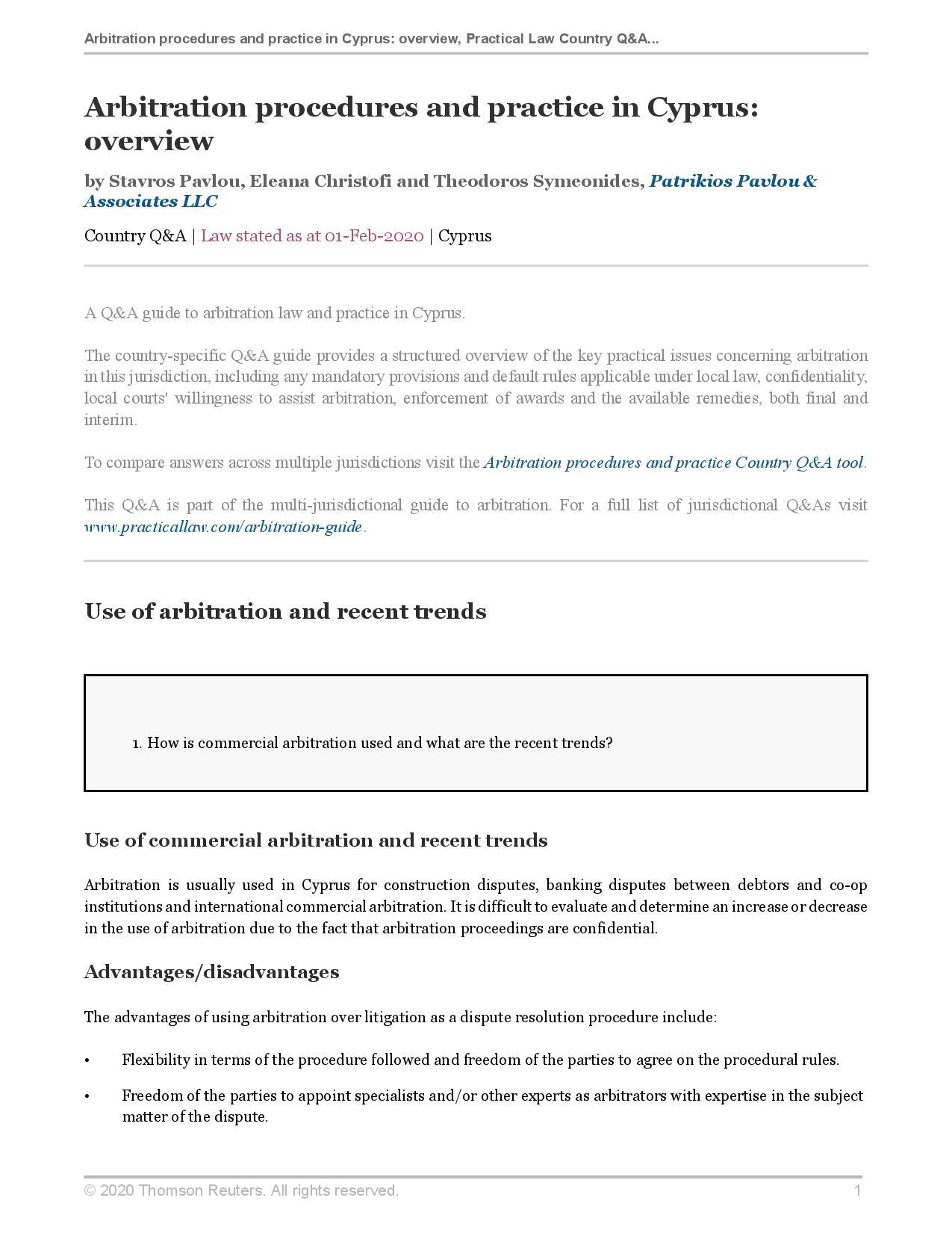 Arbitration procedures and practice in Cyprus: overview