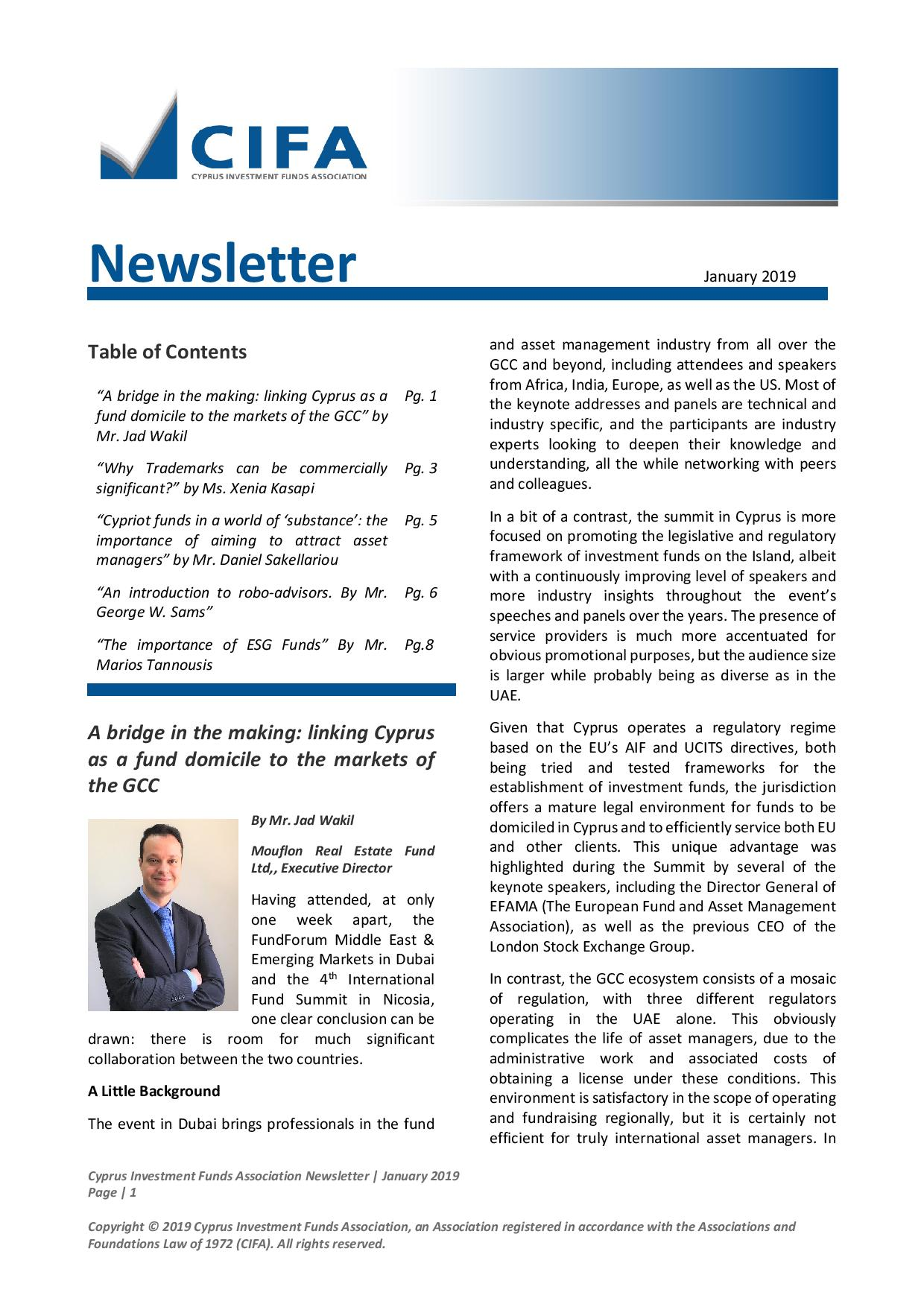 CIFA Newsletter January 2019