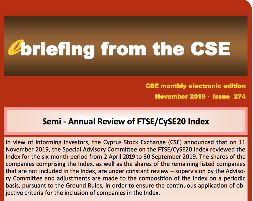 CSE: Semi-Annual Review of FTSE/CySE20 Index
