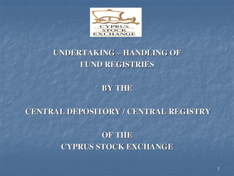 CSE: Undertaking – Handling of Fund Registries