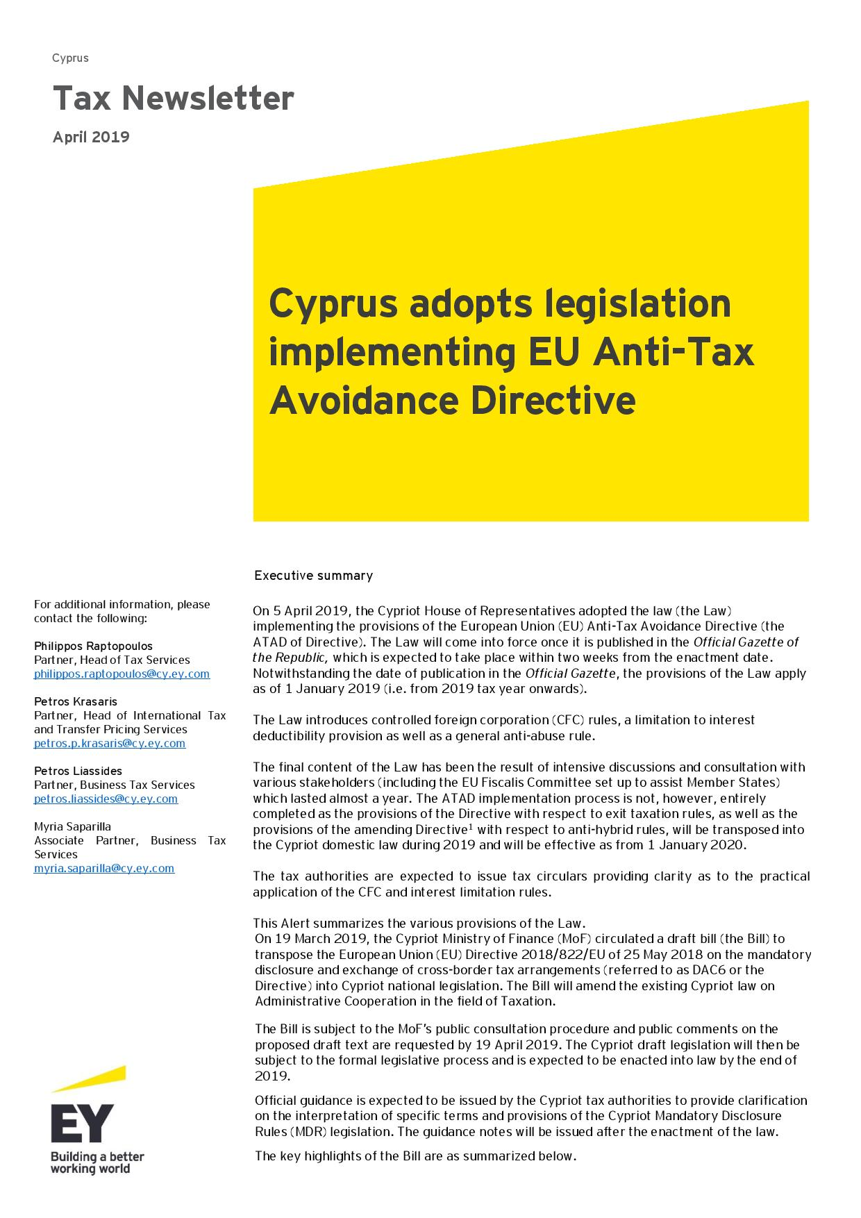 EY Tax Newsletter April 2019