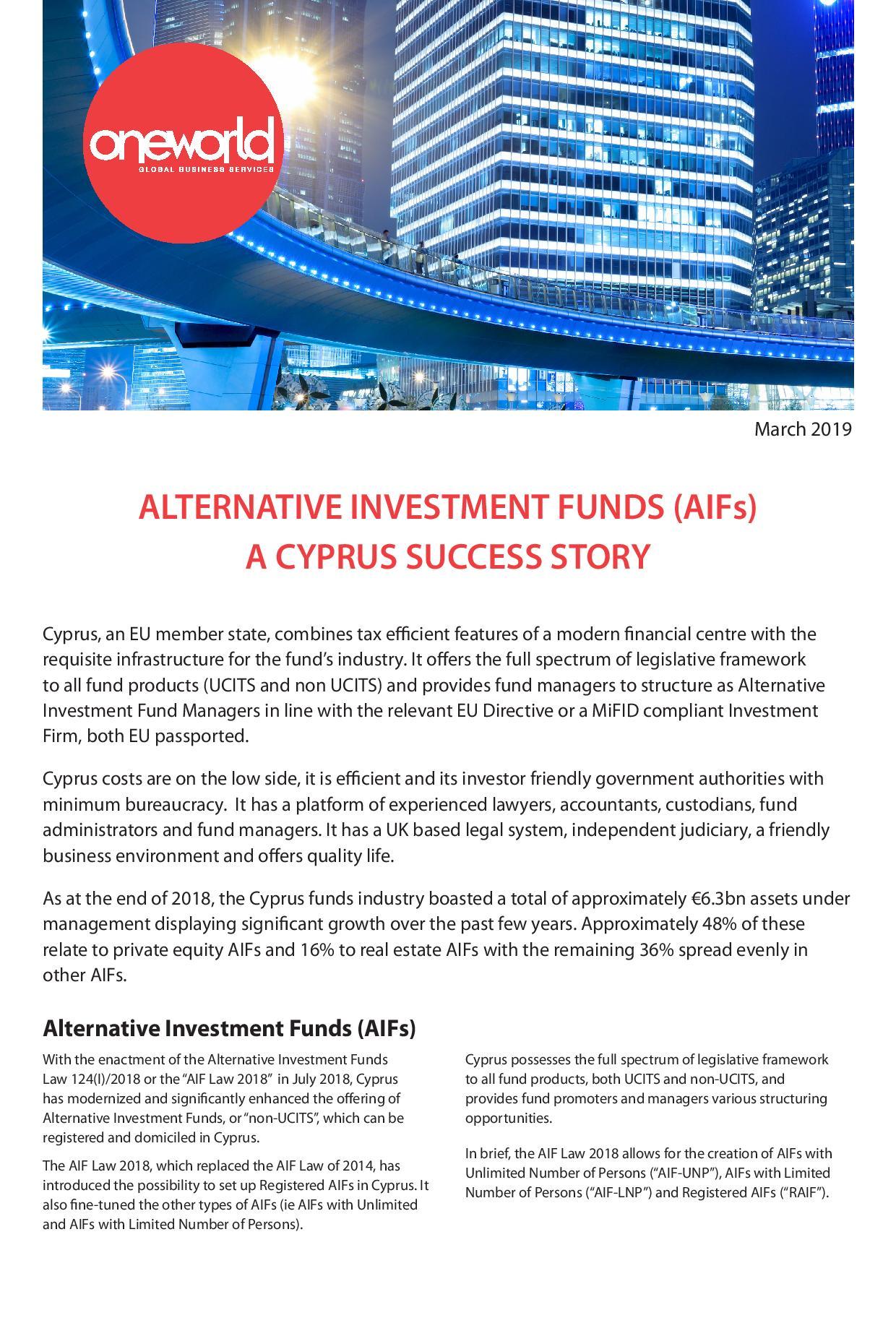 Oneworld Ltd: Alternative Investment Funds (AIFs) - A Cyprus Success Story