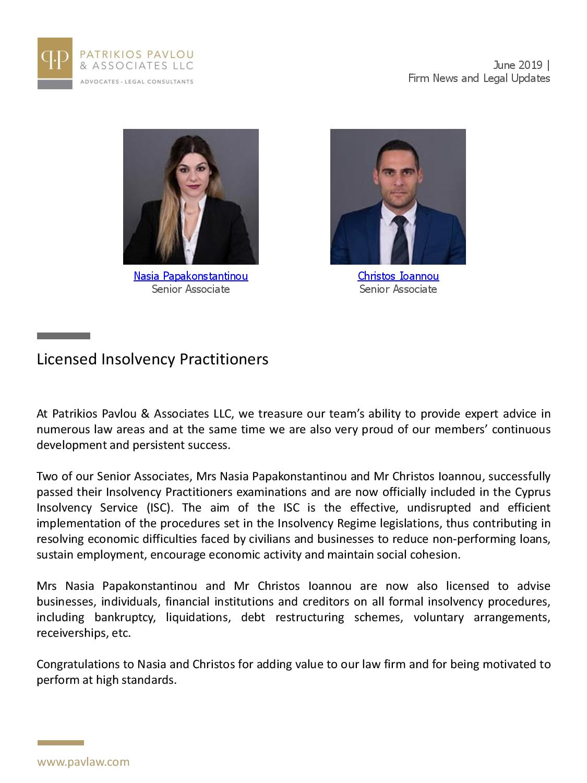 Patrikios Pavlou & Associates LLC Newsletter June 2019