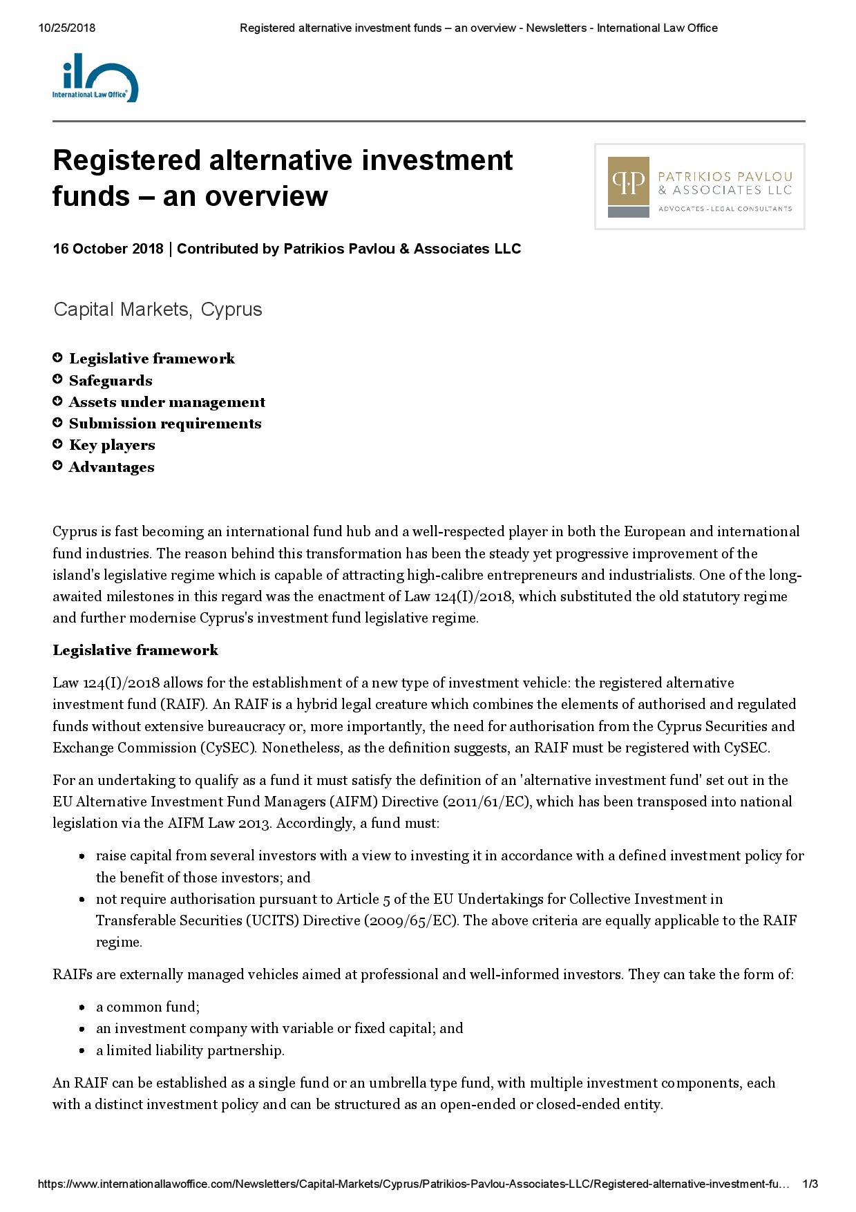 Registered alternative investment funds – an overview