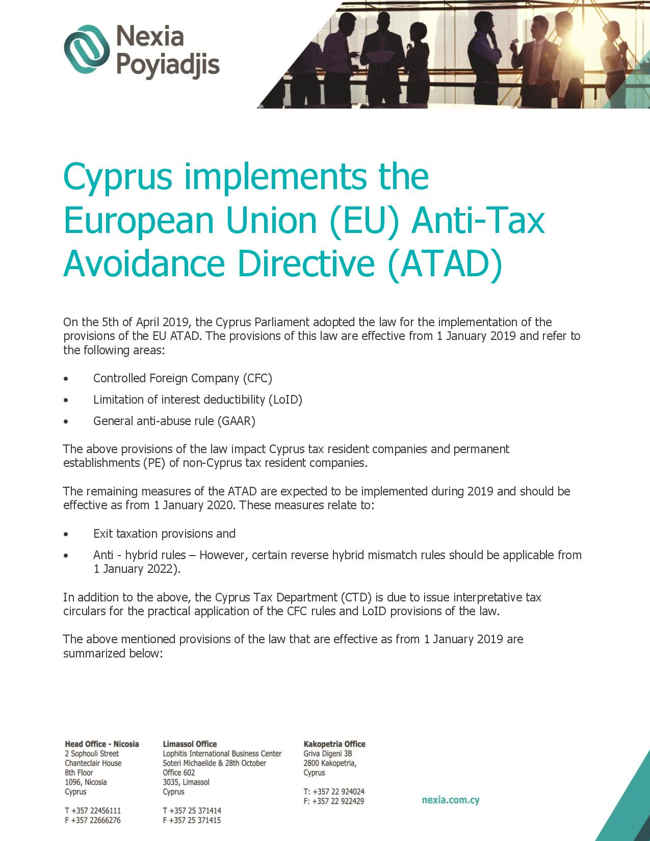 Tax newsletter on EU ATAD implementation - June 2019