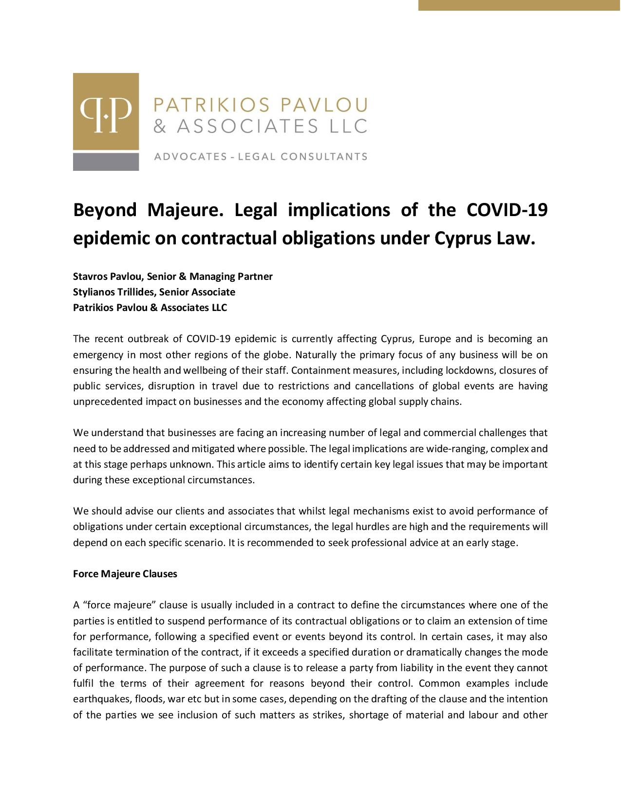 Beyond Majeure. Legal implications of the COVID-19 epidemic on contractual obligations under Cyprus Law.