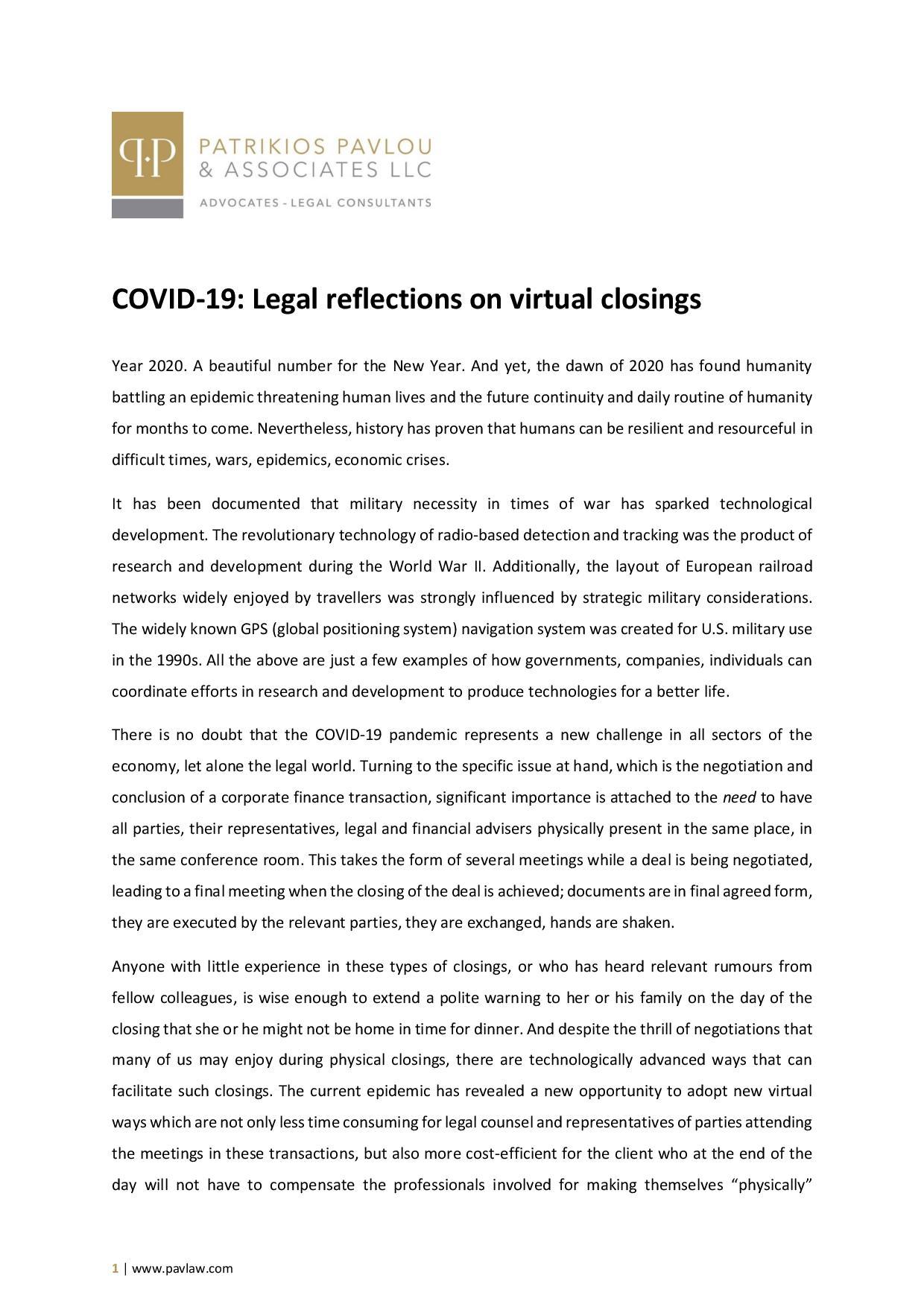Patrikios Pavlou & Associates LLC: COVID-19: Legal reflections on virtual closings