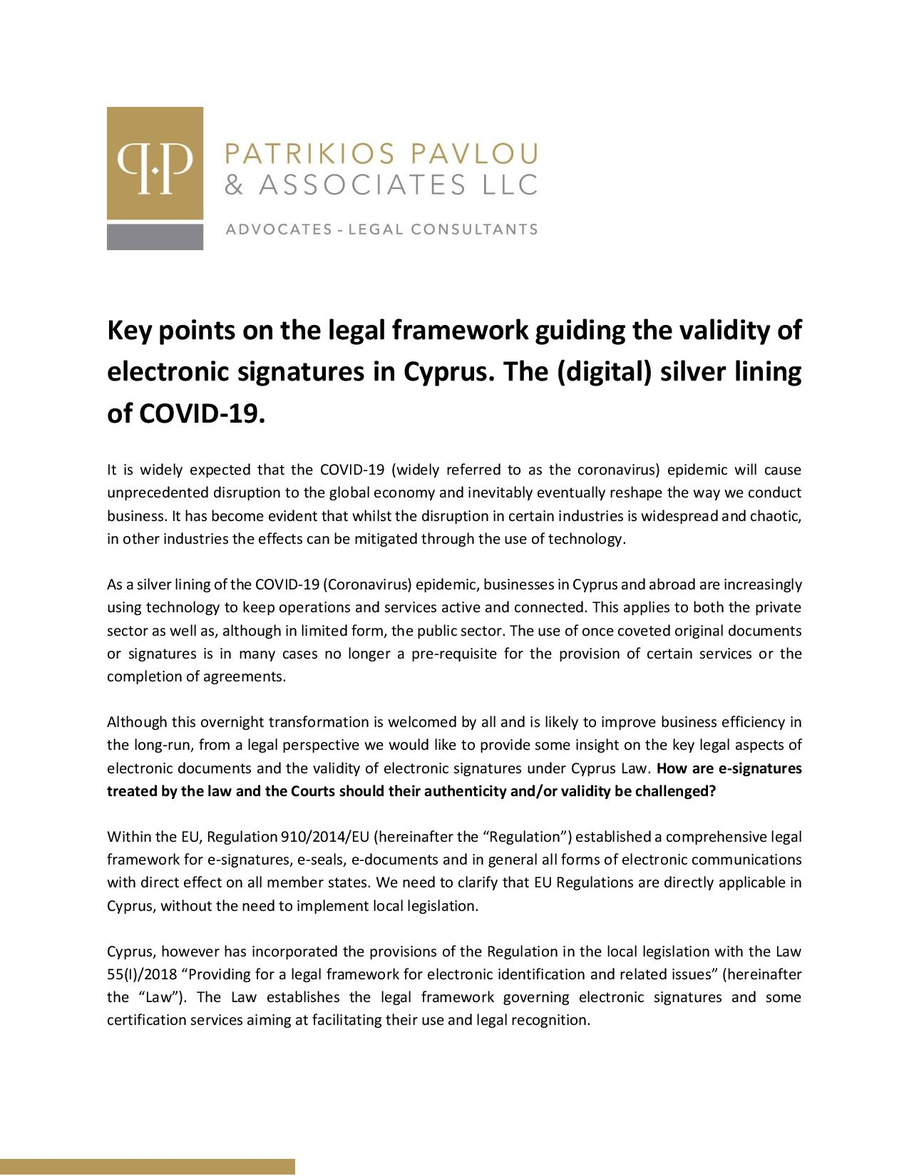 Key points on the legal framework guiding the validity of electronic signatures in Cyprus. The (digital) silver lining of COVID-19.