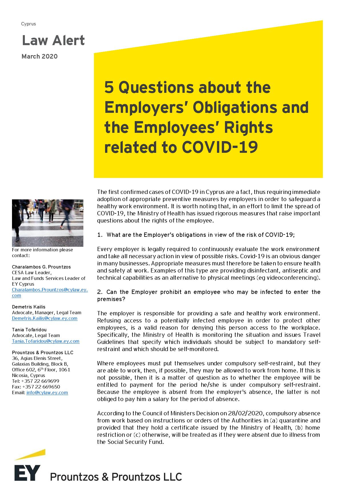 EY Cyprus: 5 Questions about the Employers' Obligations and the Employees' Rights related to COVID-19