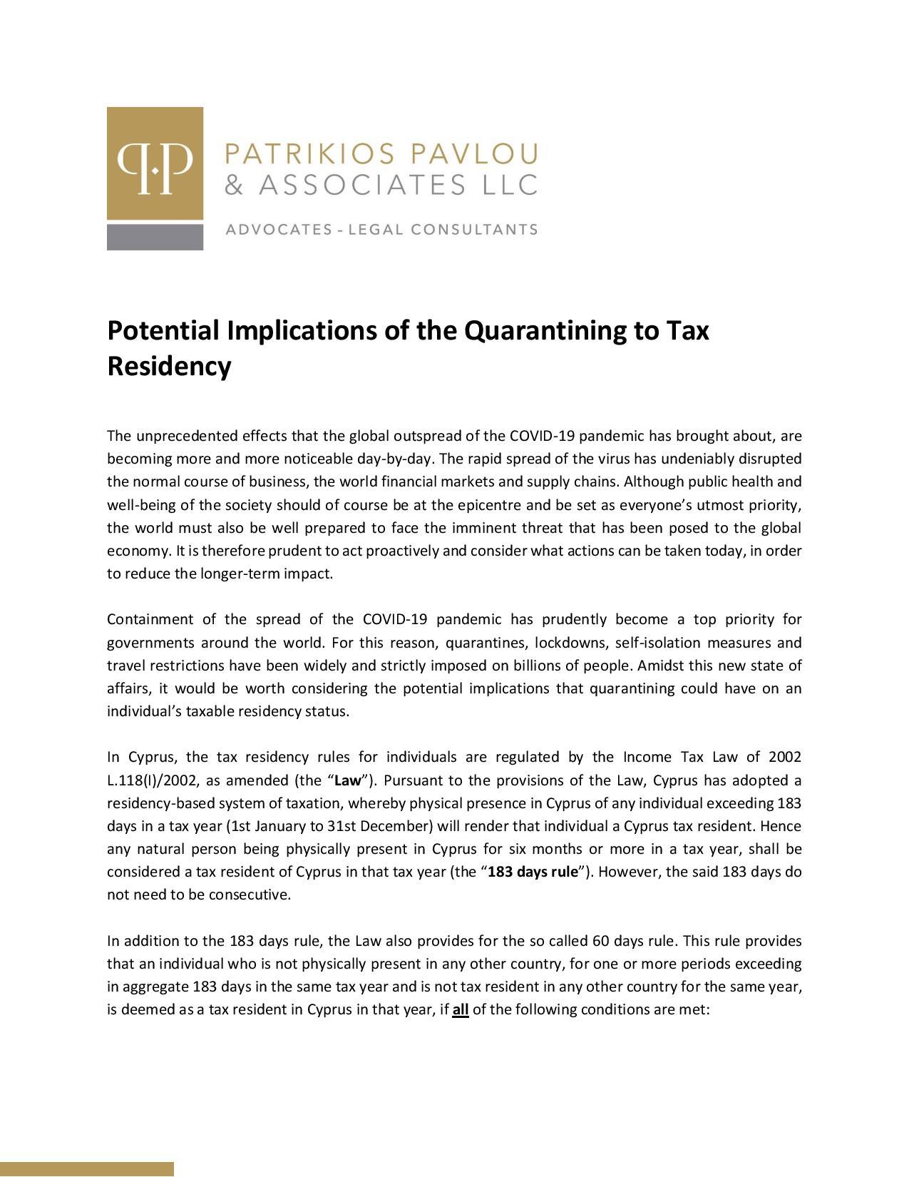 Patrikios Pavlou & Associates LLC: Potential Implications of the Quarantining to Tax Residency
