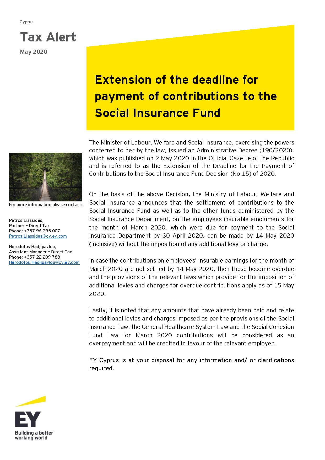EY Cyprus: Extension of the deadline for payment of contributions to the Social Insurance Fund