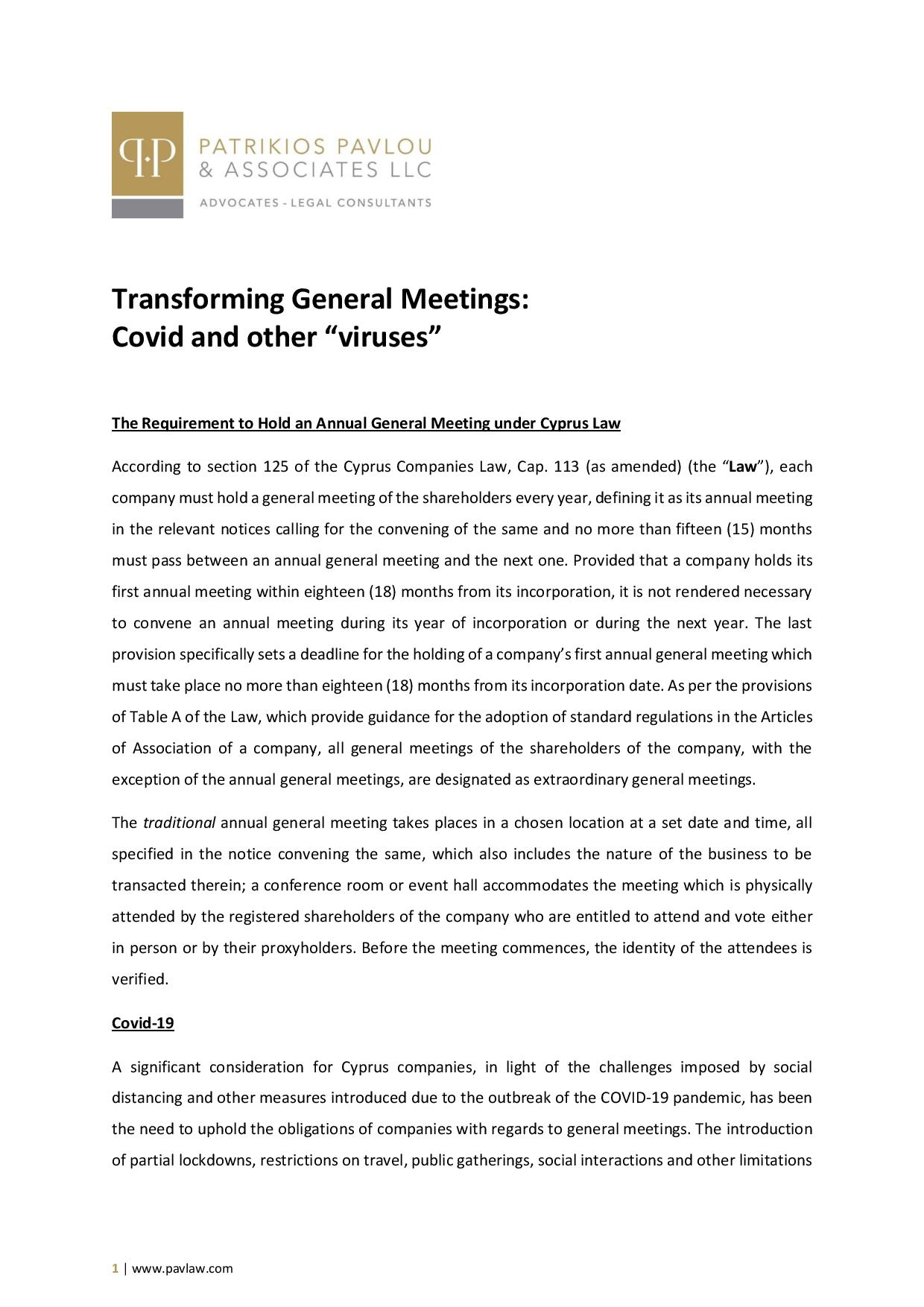"Patrikios Pavlou & Associates LLC: Transforming General Meetings: Covid and other ""viruses"""