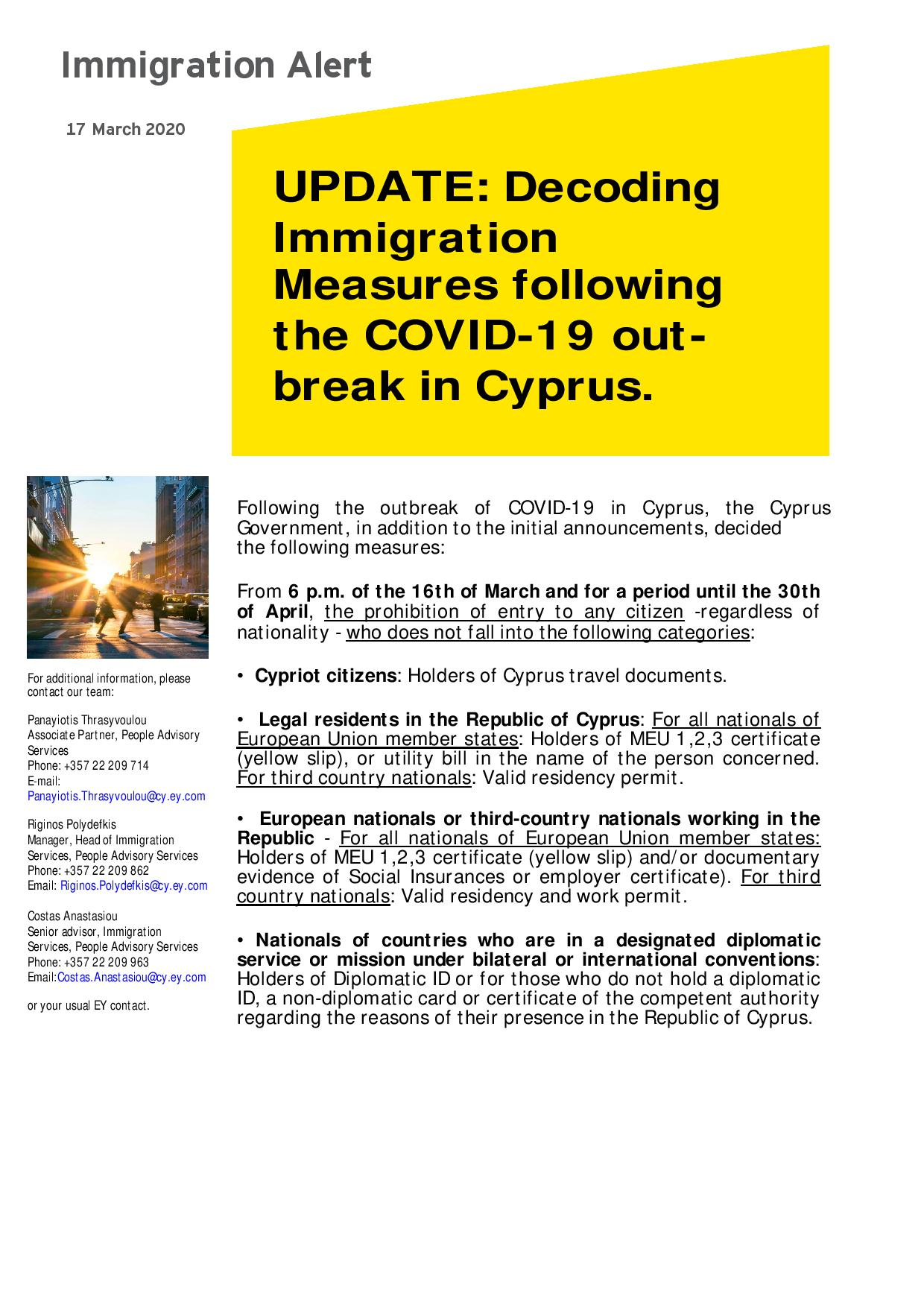 EY Cyprus: UPDATE: Decoding Immigration Measures following the COVID-19 outbreak in Cyprus