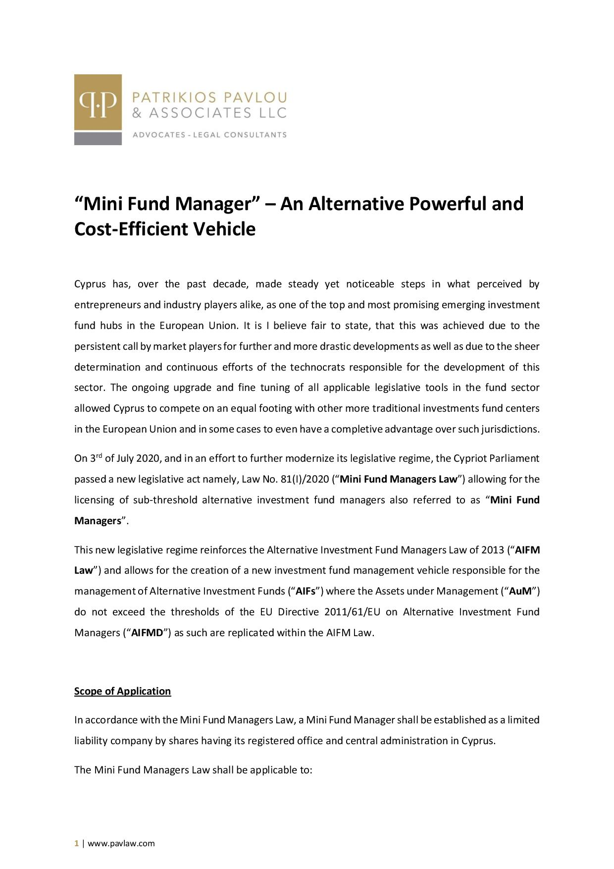 "Patrikios Pavlou & Associates LLC: ""Mini Fund Manager"" – An Alternative Powerful and Cost-Efficient Vehicle"