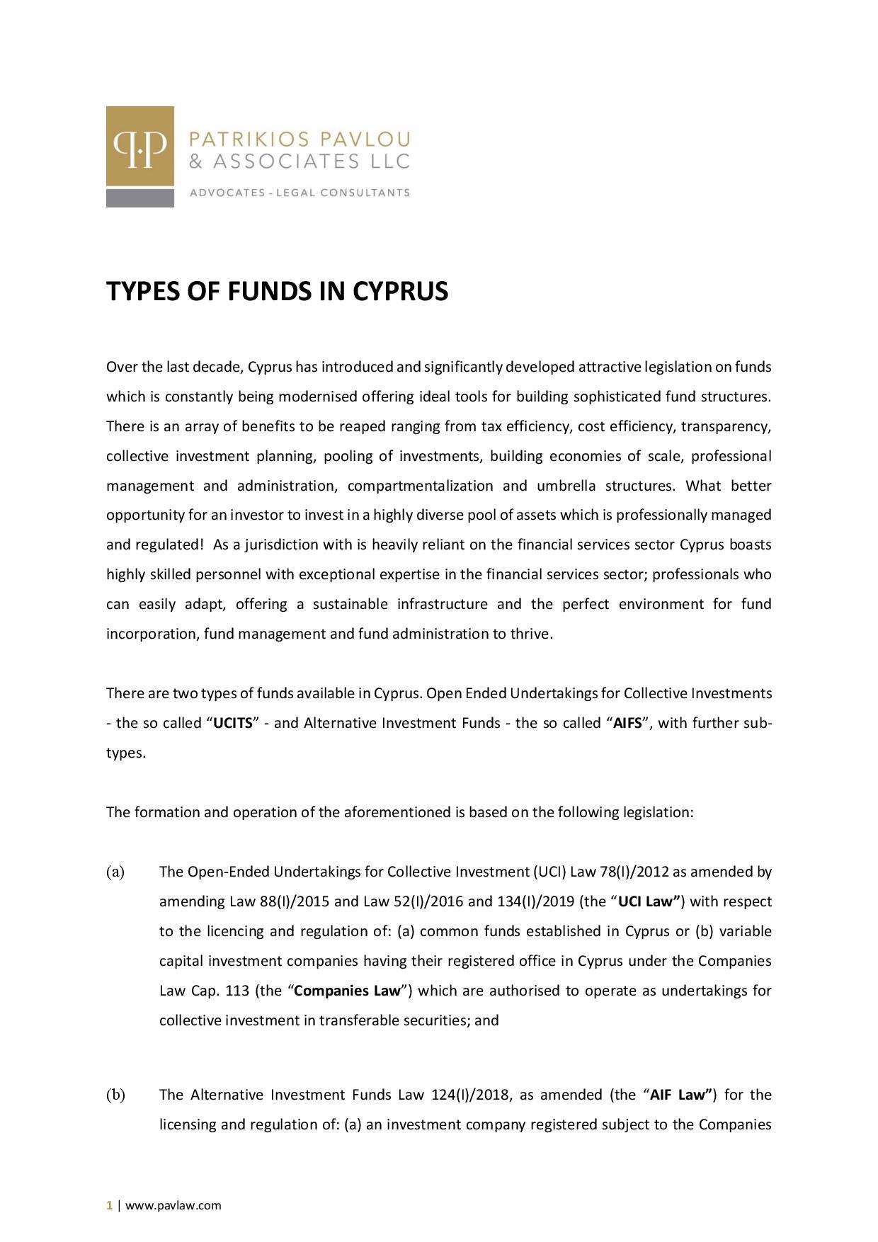 Patrikios Pavlou & Associates LLC: Types of Cyprus Funds
